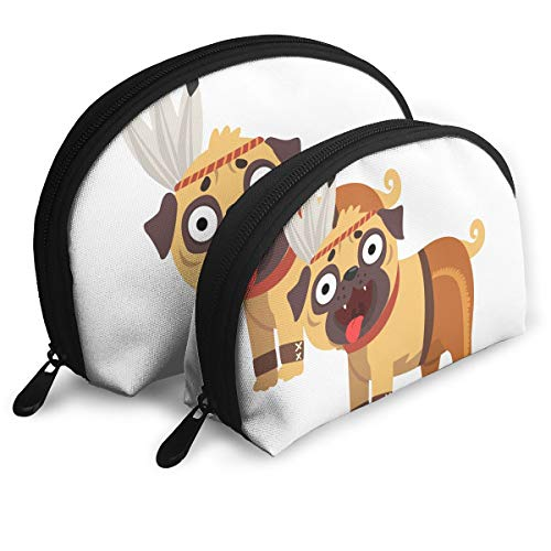 E46Dp1 Funny Pug Dog Character in American Indian Costume Travel Portable Cosmetic Bags Organizer Set of 2 Women Teens -
