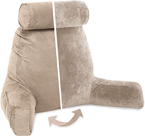 Husband Pillow, Aspen Edition - Reading and Bed Rest Pillow with Arms - Neck Roll on Bungee Cord or Removable - Premium Memory Foam - Reversible Two-Sided Cover Microsuede or Microfiber, Cowboy Taupe ()