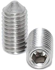 Schroefdraadpennen M3x8 met binnenzeskant en punt 25 stuks madenschroeven ISO 4027 A2 roestvrij staal