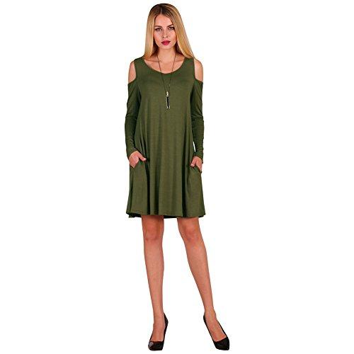 Spalla Camicia Con Delle Dreamskull Del Dell'oscillazione Manicotto Superiore Lungo Tasche Armygreen Vestito Fredda Cotone Donne dxw7Cw