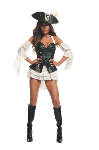 Starline Women's Black Pearl Sexy Pirate Costume Set, Black, Medium