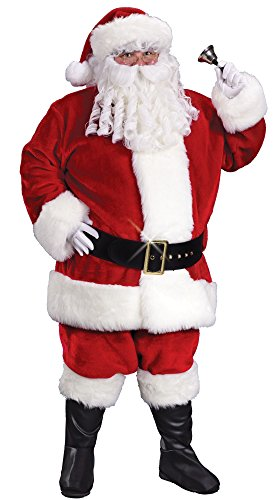 Fun World Costumes Men's Plus-Size Regency Plush Santa Suit, Crimson/White, XX-Large (Suit Regency Santa)
