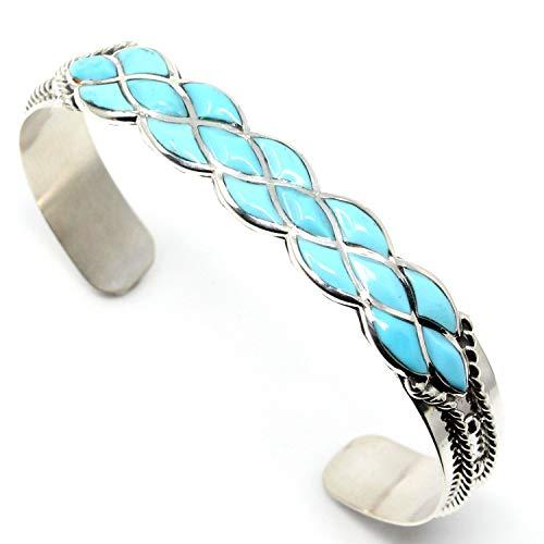 L7 Enterprises Zuni Turquoise Inlay Bracelet by Chavez | 5 1/4