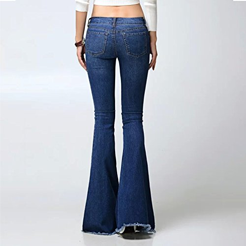 Evas Fonce Tendance Jean Jean Mode Basse Casual Pantalon dlphant Pantalon Denim Lisli Bas Taille Bleu Femme la Pattes 4AwqR