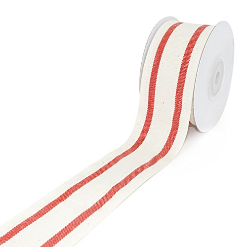 Natural Cotton Ribbon with Stripe 1-1/2 inch (38mm) x 10 Yards. Natural Ribbon Decorative for DIY Crafts and Gift Wrapping - Ivory/Red
