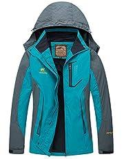 Diamond Candy Women's Waterproof Jacket Outdoor Hooded Raincoat for Hiking Skiing Trekking Travelling Windbreaker Mountaineering