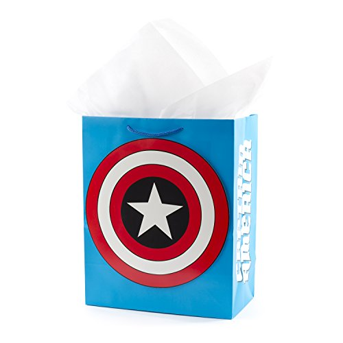 Hallmark Large Avengers Gift Bag with Tissue Paper (Captain America Shield) -