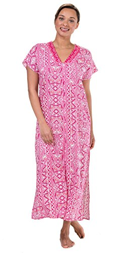 Miss Elaine Short Sleeve Zip Front Long 100% Rayon Robes In Pink Mosaic (Pink Mosaic, X-Large - Elaine Front Zip Miss