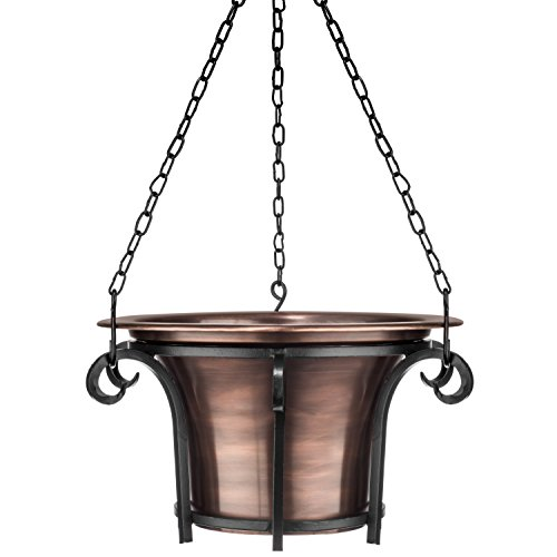 H Potter Hanging Planter for Outdoor Plants - Metal, Round, Copper Finish - Patio, Balcony, Deck (Hanging Copper Baskets)