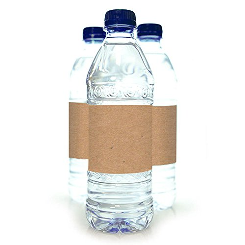 25 Printable Kraft Wide Water Bottle Labels for Inkjet or Laser Printers, 7 x 2 inches
