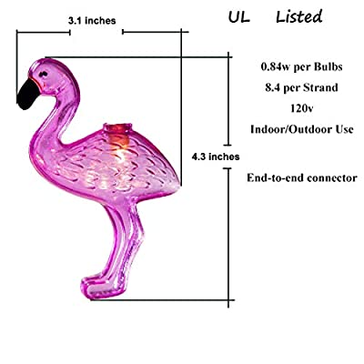 8.5Ft String Lights Flamingo Lights Outdoor Party Lights 120v Patio String Lights Pink Flamingo String Lights Fun Lights for Bedroom Home Birthday String Lights 1 Pack of 10 Bulbs 0.84w, White Wire : Garden & Outdoor