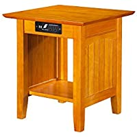 Nantucket End Table with USB Charger, Caramel Latte