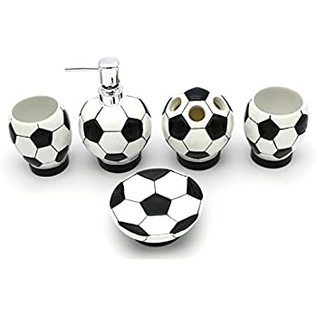 Soccer Bathroom Accessories Set, White And Black Bathroom Accessories Set,  Gift For Kids Boyfriends