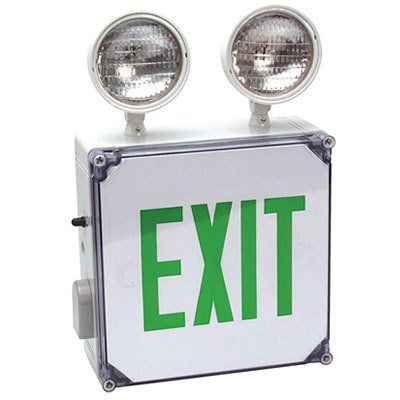 Combo Green Letters - NEMA 4X Exit Sign Emergency Light Combo with Green Letters