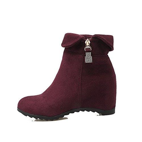 AgooLar Damen Rund Zehe Mittler Absatz Blend-Materialien Rein Ziehen auf Stiefel, Grau, 41