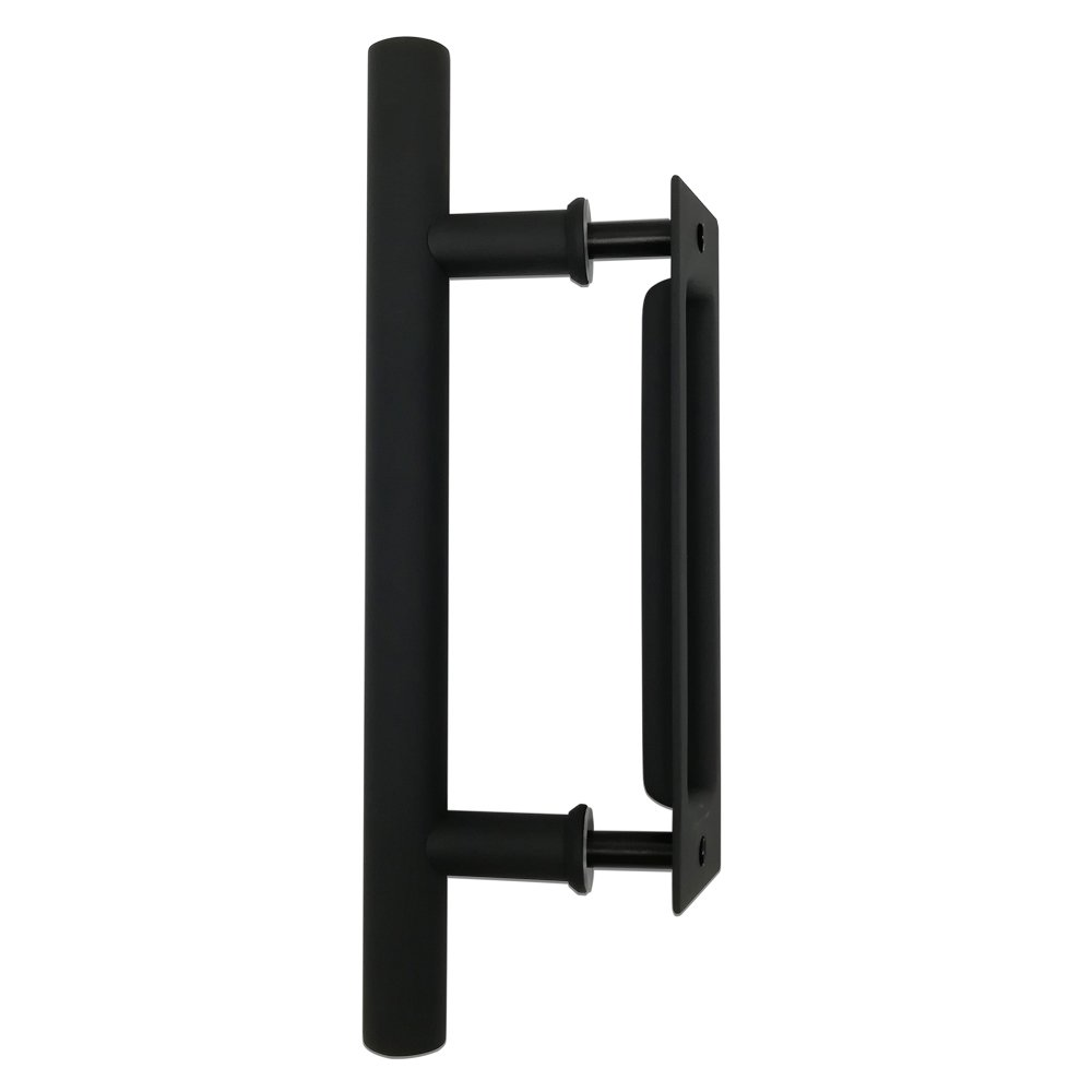 12'' Matte Black Bar Pull and Flush Handle Set for Barn Door Hardware