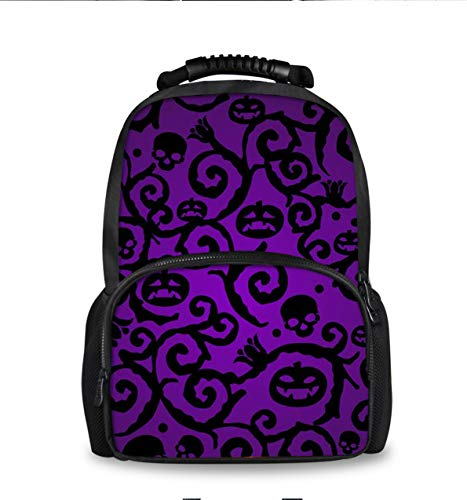 School Laptop Backpack for Men Women Waterproof Workout Fashion Traveling Computer Bag for Student- Happy Halloween Purple pumpkin