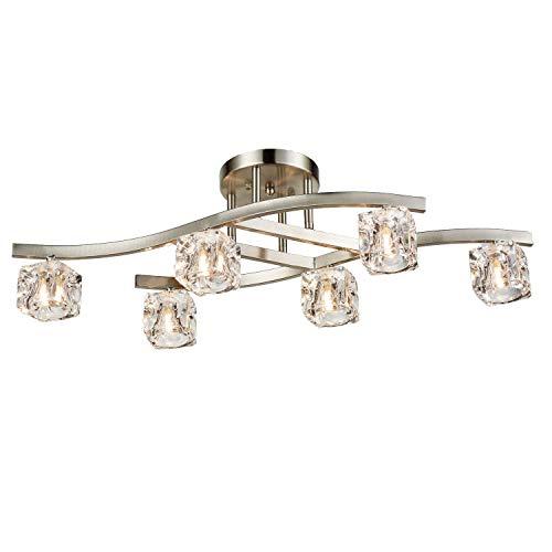 DANXU Lighting Modern Chrome Ceiling Light Fixture Glass Crystal Ice Cube 6-lights]()