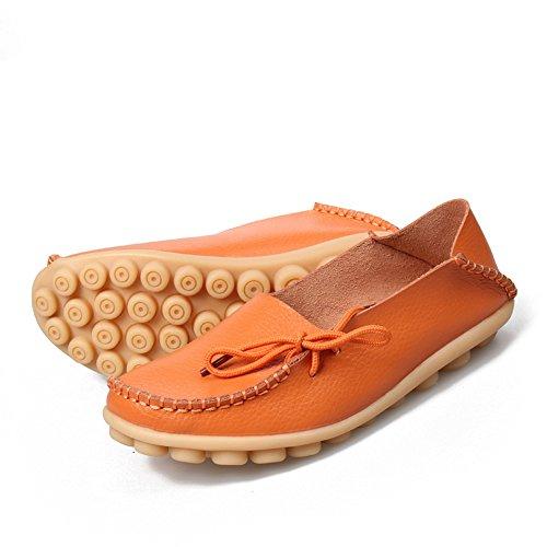 KEESKY Damen Leder Loafers Aushöhlen Casual Slip On Driving Schuhe 03 Orange