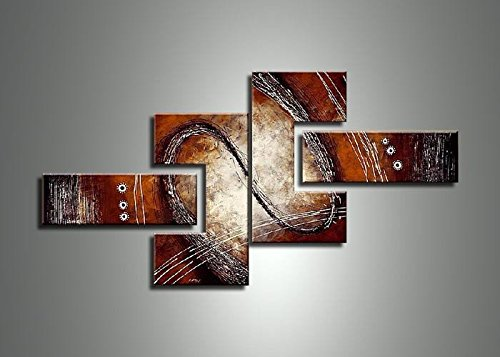 Designart OL422 4 Piece Hand Painted Abstract Red/Brown Painting and Textured Canvas Art by Design Art