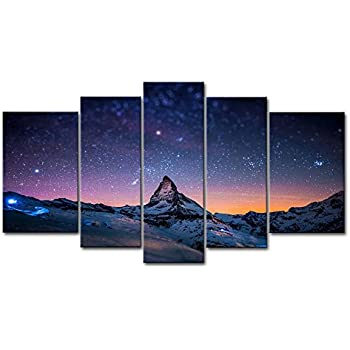 Amazon Com 5 Panel Wall Art Blue Colorful Space Nebula