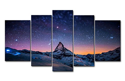 Fresh Look Color 5 Piece Wall Art Painting Starry Night Sky Over The Mountains