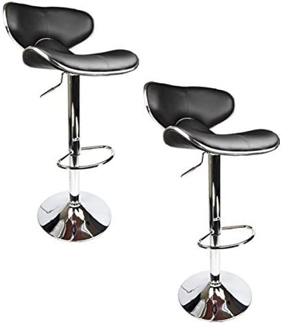 jersey seating 2 x PU Leather Hydraulic Lift Adjustable Counter Bar Stool Dining Chair Black