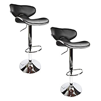 2 x PU Leather Hydraulic Lift Adjustable Counter Bar Stool Dining Chair Black -Pack of 2 151 Made By jersey seating