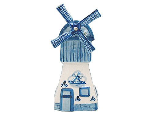 Delft Blue Windmill Music Box with Turning (Delft Music Box)
