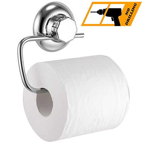 MaxHold No-Drilling/Suction Cup Toilet Paper Roll Holder - Vaccum System - Stainless Steel Never Rust - for Bathroom & Kitchen Storage (Toilet Roll Plastic Holders)