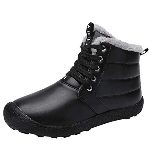 Sokajoy ♦ Men's Winter Snow Boots Ankle Booties Lace-up Slip On PU Warm Fur Lined Waterproof Anti-Slip Sneaker -
