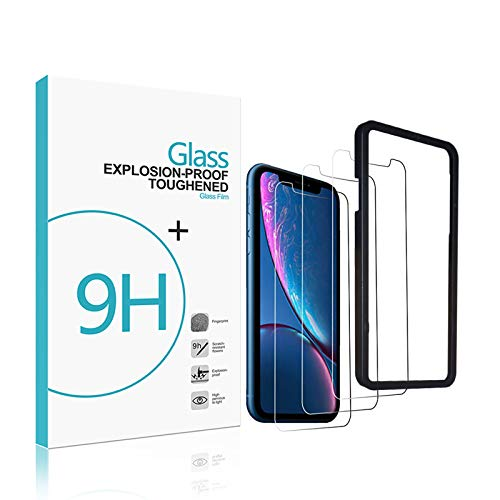 RKINC Screen Protector Apple iPhone XR 6.1 (Clear, 3 Packs) 0.33mm iPhone XR Tempered Glass Screen Protector Super Clarity [3D Touch] [Installation Tray Included] Case Friendly XR 6.1