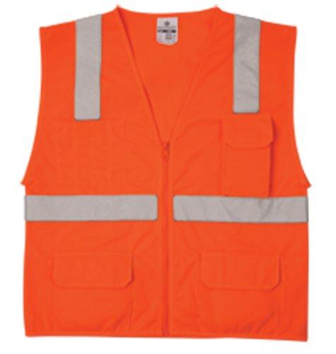 - ML Kishigo 1292 Polyester Economy Series Multi Pocket Solid Vest, Fits Small and Medium, Orange