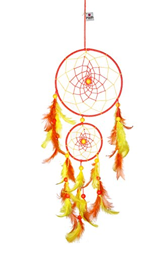 Rooh Dream Catcher~Yellow Large~Handmade Hangings for Positivity (use as Home DÃcor Accents, Wall Hangings, Garden, Car, Outdoor, Bedroom, Key Chain, Meditation Room, Yoga Temple, Windchime) (Orange)