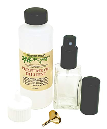 Fragrance Making Spray Kit to use with Perfume Studio Oils; 4.2oz Perfumer's Alcohol Equivalent Bottle, 1oz Empty Glass Spray Bottle, 1 Perfume Funnel (Fragrance Making Spray Kit)