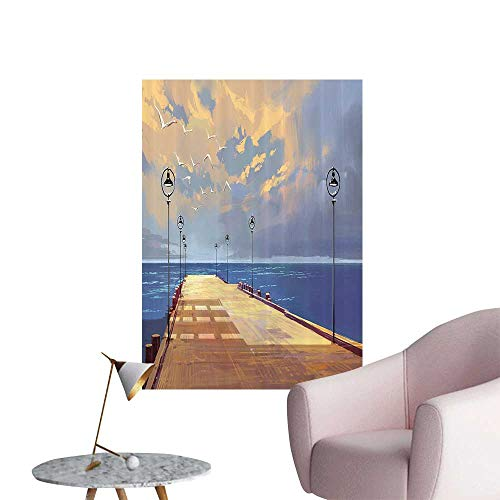 Wall Stickers for Living Room Wooden Bridge Pier to The Sea Harbor Bay Coast Cloudy with Gull Vinyl Wall Stickers Print,12