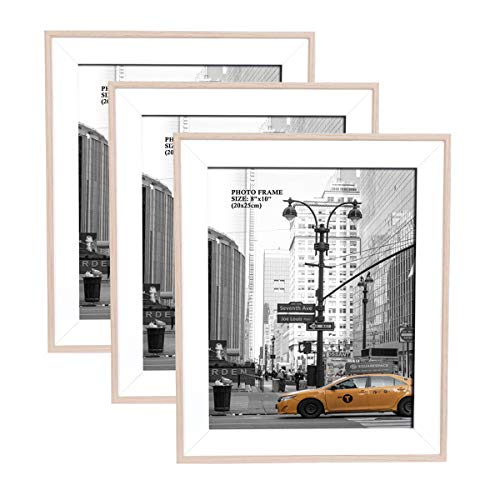 Metrekey 8x10 Picture Frame (3 Pack, Natural Woodgrain), Photo Frame 8x10 for Table Top Display and Wall Mounting Definition Glass Photo Frames