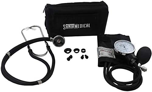 Santamedical Adult Deluxe Aneroid Sphygmomanometer with Stethoscope, Cuff and Carrying Case, Black