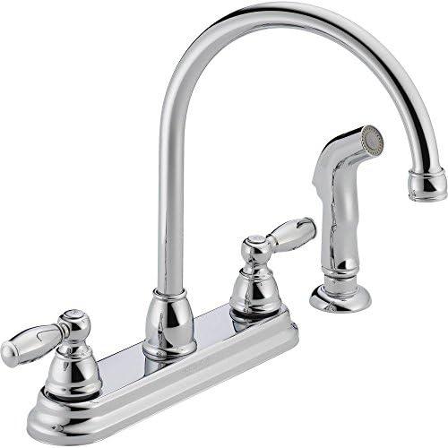 Peerless Kitchen Faucet Low Lead Two Handle H Arc Spout Designer Series 8 Centers Chrome Finish