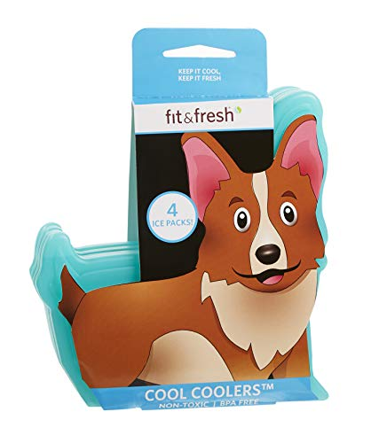 Fit & Fresh Cool Coolers, Slim Ice Packs for Lunch Boxes, Bags and Coolers, Dog Shapes for Kids, Set of 4, Multicolored