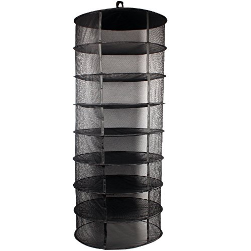 Growsun 2ft 8 Layer Black Mesh Hanging Herb Drying Rack Dry Net (Dry Net)
