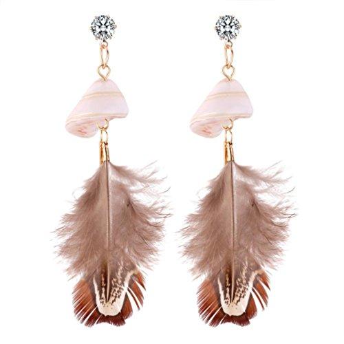 (Earrings for Women,Caopixx Ladies Bohemia Shell Zircon Feather Earrings Dangle Style Studs Ear Pearl Earrings (Grey, alloy))