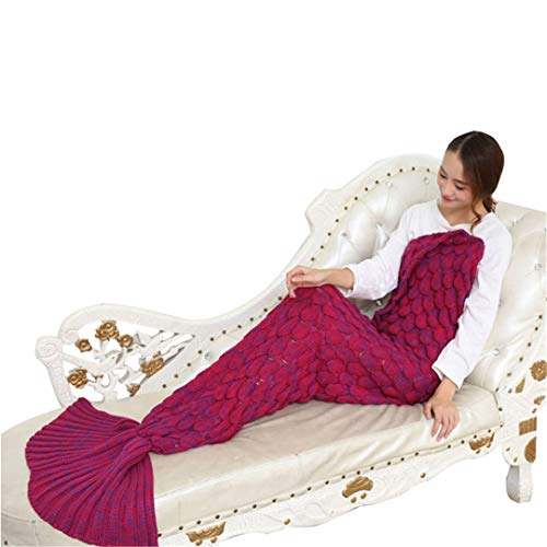 L-APZRIER Handmade Yarn Knitted Mermaid Tail Blanket for Adult Kids Throw Bed Wrap Super Soft Crochet Warm Blanket 3 Sizes Blanket 007 140x70cm (for 1.4m) ()