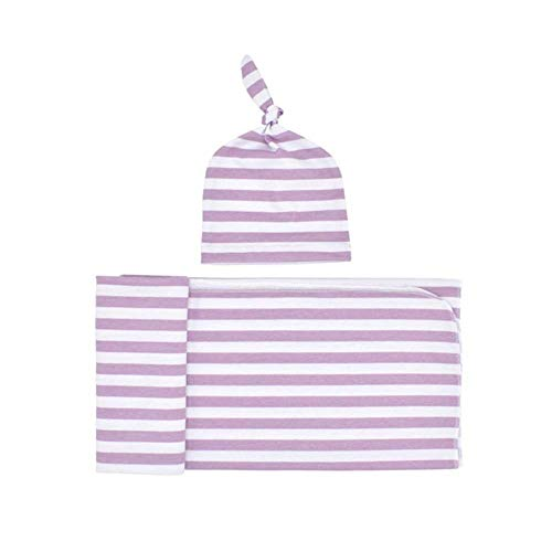 YICANG 2 Sets Newborn Cotton Striped Towel Tire Soft Infant Blankets Knotted Tire Cap