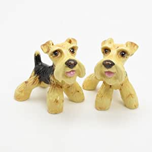 Airedale Terrier Dog Ceramic Figurine Salt Pepper Shaker 00004 Ceramic Handmade Dog Lover Gift Collectible Home Decor Art and Crafts