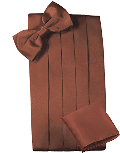 Mens Satin Cummerbund Bowtie Hanky set, 4 Pleat, Large Variety of Solid Colors Available, by Platinum Hanger (Brown)