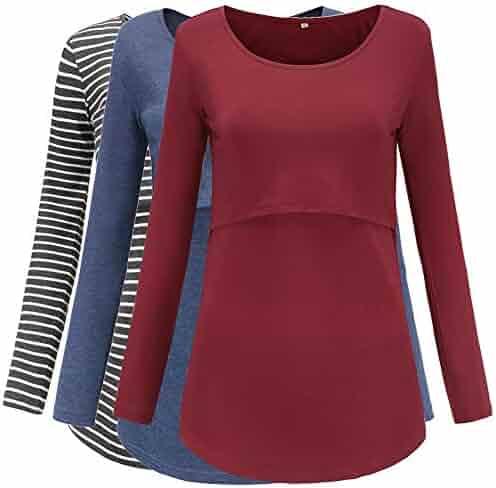 1c146420eca Jezero Women s Long Sleeve Nursing Tops Round Neck Breastfeeding Tunic  3-Pack