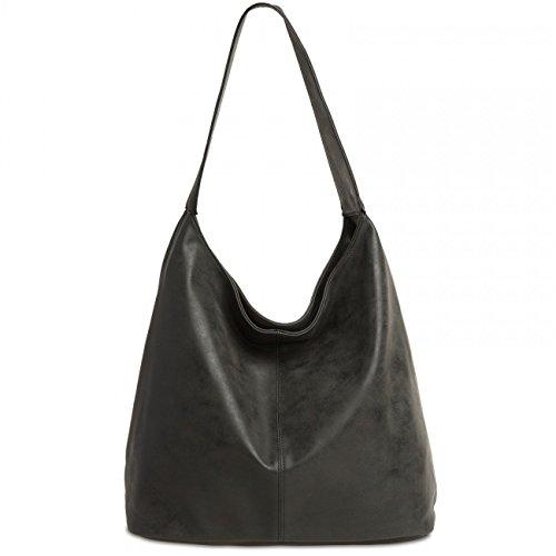 CASPAR TS1015 Sac à main vintage pour femme Noir
