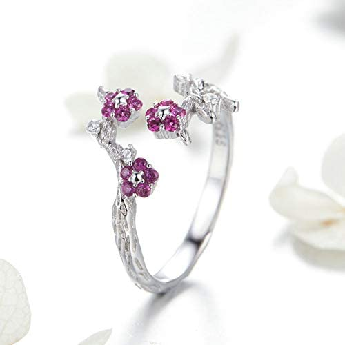 Everbling Sparkling Wintersweet Flower 925 Sterling Silver Statement Ring