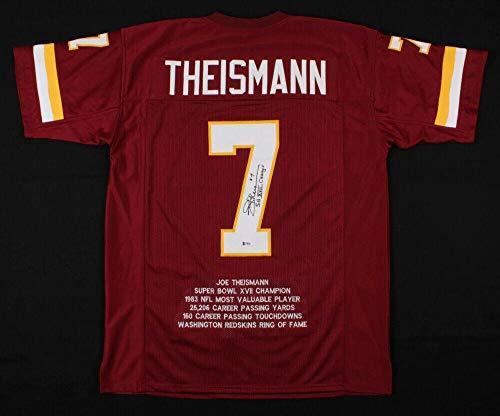 Autographed Joe Theismann Jersey - PRO STYLE STAT w INSC & BECKETT COA - Beckett Authentication - Autographed NFL Jerseys (Theismann Jersey)